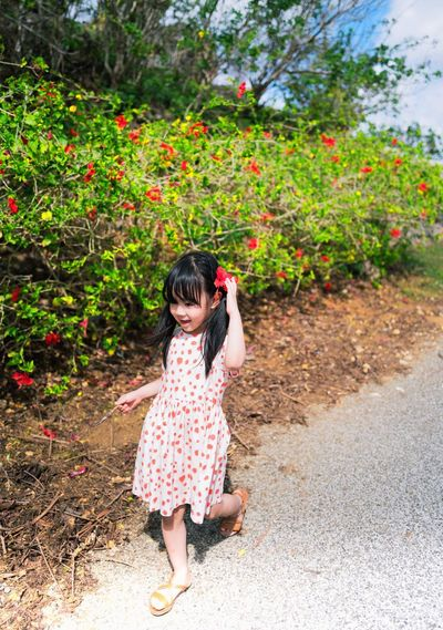 Full Length Of Girl Walking By Flowering Plants During Sunny Day