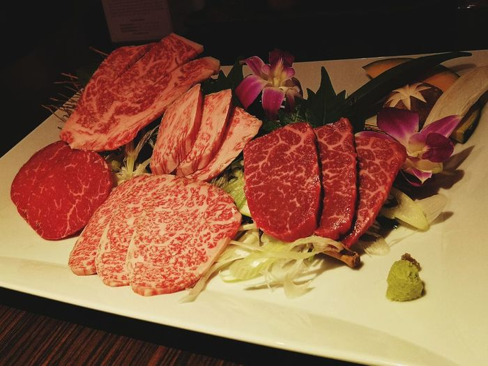 Yummy wagyu Wagyu Wagyu Beef WagyuHeaven BBQ Beef Marble Beef Yummy Deliciuous Hungry Japanese Food Beef Lover Amazed Tasty Food Irresistable Addictive Caution Extremely Addictive Priceless My Precious Sashimi  High Angle View Close-up Food And Drink Meat Red Meat