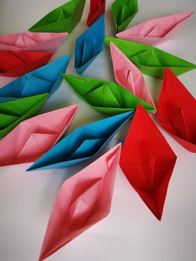 paper boats Multi Colored Full Frame Backgrounds Red Close-up Paper Boat Watercolor Painting Watercolor Paints Modern Art Craft Product For Sale Origami Brush Stroke Fine Art Painting ArtWork Triangle Shape Oil Painting Painted Image Acrylic Painting Colored Pencil Fabric Craft Folded Paintings Oil Paint