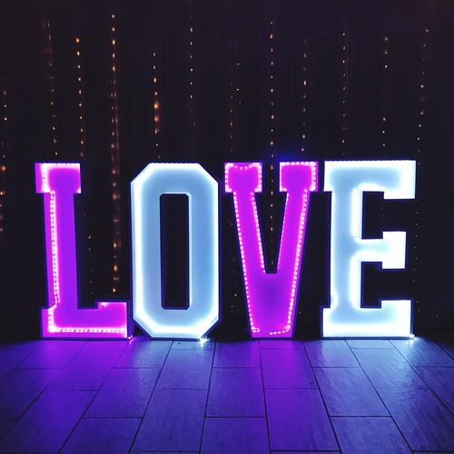Love Wedding Day Love Text Communication Western Script Letter Multi Colored Capital Letter No People Illuminated Sign Art And Craft Creativity Neon