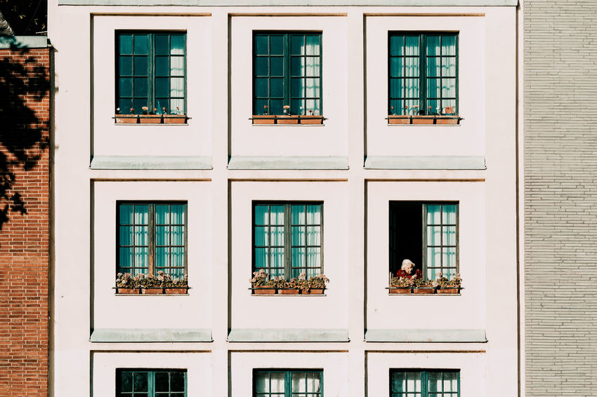 Good Morning Grandma Architecture Building Building Exterior Built Structure Day Geometric Shape Glass Glass - Material No People Outdoors Pattern Reflection Residential District Side By Side Transparent Twodayscologne Wall Window Window Frame