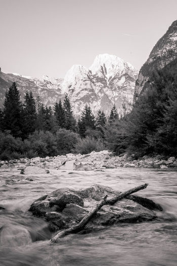 Beauty In Nature Black & White Black And White Blackandwhite Blackandwhite Photography Bovec Bw Clear Sky Geology Idyllic Mountain Nature Non-urban Scene River Scenics Sky Slovenia Soca Tranquil Scene Tranquility Tree Trenta Valey Water Waterfront