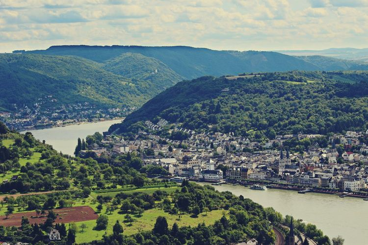 Aerial View Beautiful BoppardamRhein Clouds And Sky Forest Green Hill Houses Landscape Meadows Mountain Mountain Range Outdoors Outdoors Photography Perspective Rhein River Riverside Ships Stream Top Perspective Town Tree Trip Valley