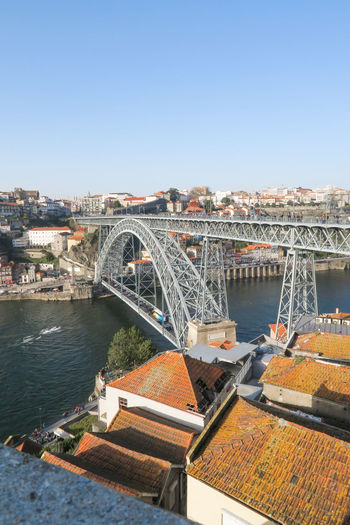 ponte dom luis i over douro river in porto, portugal Springtime Spring Sightseeing Attractive Bridge Arch Bridge Portrait Ponte Dom Luis Porto Portugal Tiles Typical House Sunny City Water Cityscape Clear Sky Sky Architecture Built Structure