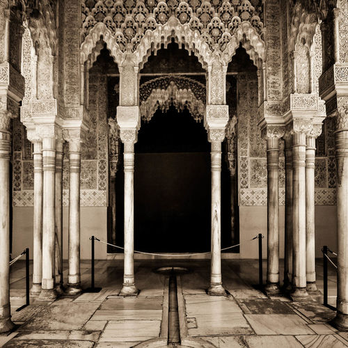 Cream Detailed Ceilings Marble Floor Mirror Image Ornate Palace Palace Alhambra Palacial Pillars SPAIN Spanish Architecture Stone Symmetry Symmetrical Symetry