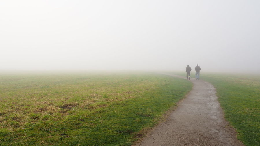 Rear view of people walking on footpath against sky