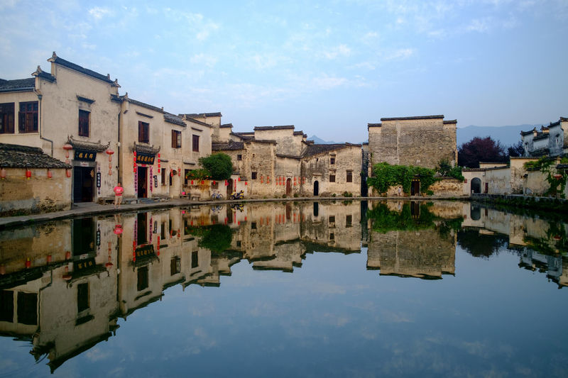 Hong cun Ancient Anhui,China China Photos Travel Architecture Building Building Exterior Built Structure China Cloud - Sky Day History Lake Nature No People Outdoors Reflection Sky Symmetry The Past Travel Destinations Water Waterfront My Best Travel Photo EyeEmNewHere