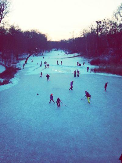 Winter in Berlin <3 Winter Wonderland Ice Skating Hockey Frozen Lake Turquoise By Motorola