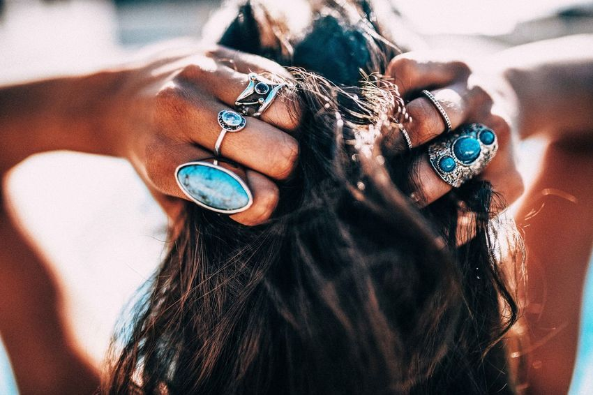 Close up of Women with bohemian style jewellery rings on hands Beach Bikini Bohemian Boho Boho Chic Brunette Close-up Day Fashion Hair Hair Style Human Hand Jewelry One Person Only Women Outdoors People Pool Rings Salty Hair  Sexygirl Style Summer Sun The Week On EyeEm Editor's Picks