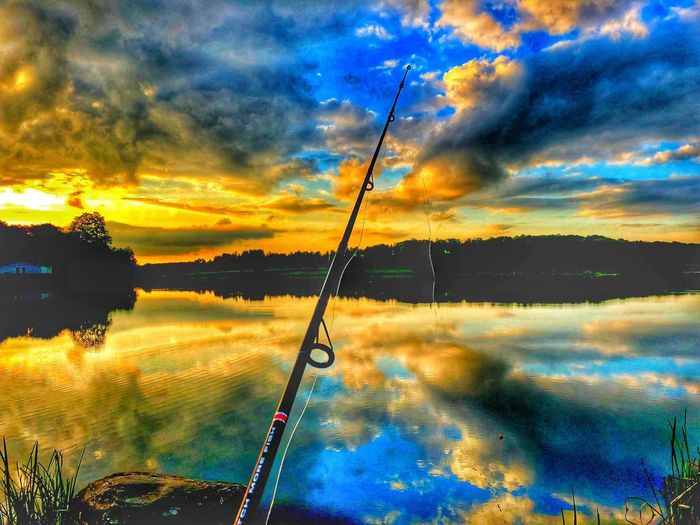 Gone Fishing Landscape Lake Fishing Pole Fishing Rod Fishing Sky Cloud - Sky Sunset Nature Beauty In Nature No People Dramatic Sky Tranquil Scene Scenics - Nature Tranquility Outdoors Tree Water