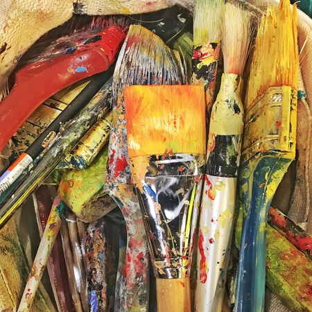 Alexa Meade's paint brushes. Paint Multi Colored Close-up Paint Brushes Paint Bucket nyc Messy Variation Oil Paint Palette No People Full Frame Indoors  Day