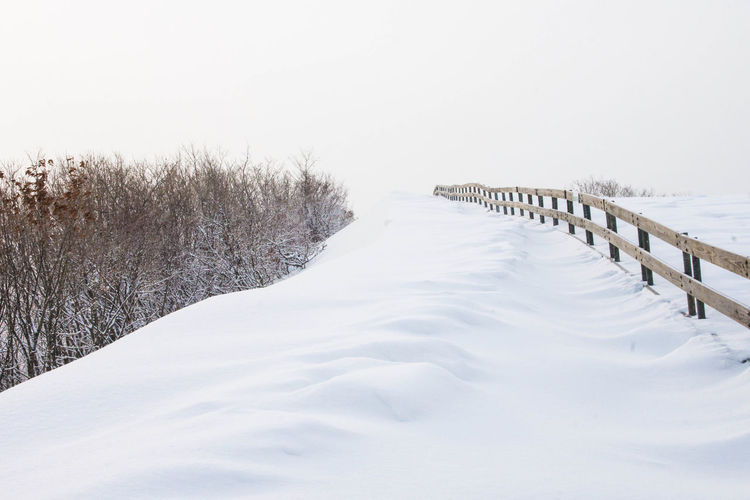 Scenic View Of Snow Covered Sea Against Clear Sky