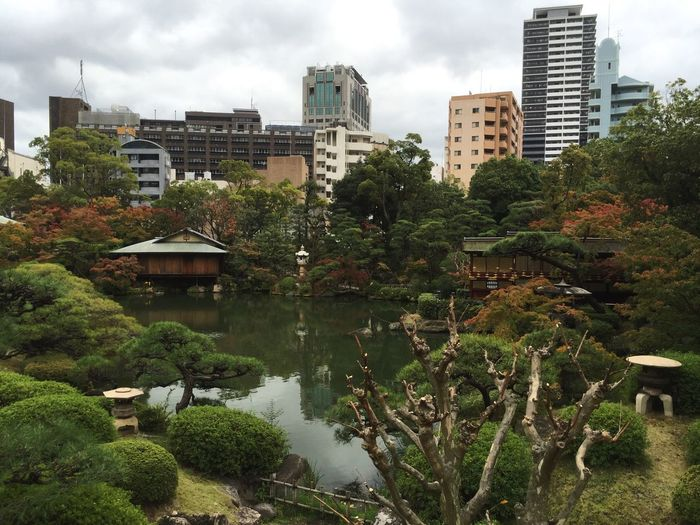 Japanese Garden With Cityscape Against Cloudy Sky