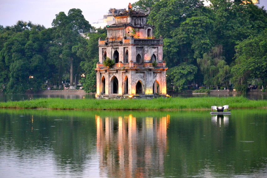 Ancient Architecture Building Exterior Built Structure Day Hanoi Vietnam  History Hoan Kiem Lake Lake No People Outdoors Reflection Tháp Rùa Tourism Travel Travel Destinations Tree Turtle Tower Water Waterfront