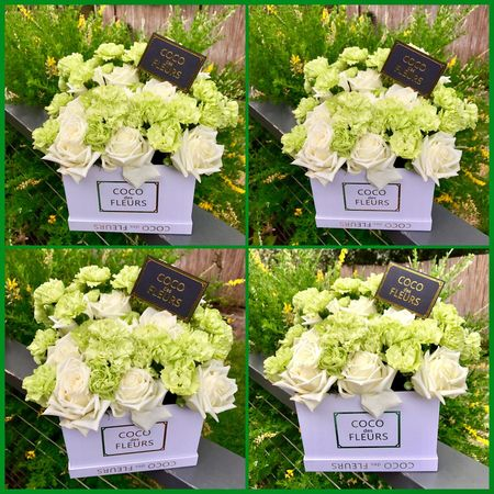 Coco des fleurs Cocodesfleurs Flowers Flowerbox Flowerarrangement Christmaspresent Florist Greenery Business Advertising Beautifulflowers Pretty Creative Collage 🍃💐🍃