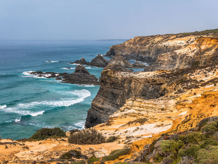 Landscape_Collection Nature Nature Photography Ocean View Portugal Rock Travel Travel Photography Traveling Wave Beauty In Nature Cavaleiro Cliff Eroded Horizon Over Water Landscape Landscape_photography Nature_collection Ocean Photography Scenics Scenics - Nature Sea Travel Destinations Water