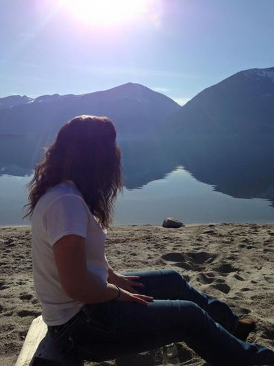 Mountain Lake Girl Sitting Nature Relaxation Serene People Beach British Columbia Kootenays Beauty In Nature Beauty
