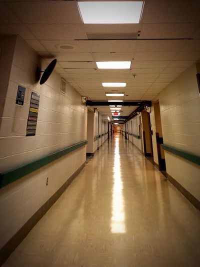 Hallway Hallway Photo Long Hallway Optical Illusion Optical Illusions Iphonephotography IPhone Photography IPhone Photos Iphone Photo Tricks Of Light Tricks Of The Mind My Eyes Play Tricks On Me Indoors  Ceiling Light  Illuminated Creepy Hallway Empty Hallway Hospital Hallway Someone Is Watching You Perspectives Perspective Photography