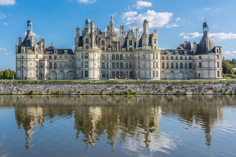 Amazing Places To See Architecture Blue Building Exterior Built Structure Castle Chambord Chateau De Chambord Château Cloud - Sky France Loire Loire Valley Reflection Sky Standing Water Tourism Tourist Attraction  Travel Destinations Water Waterfront