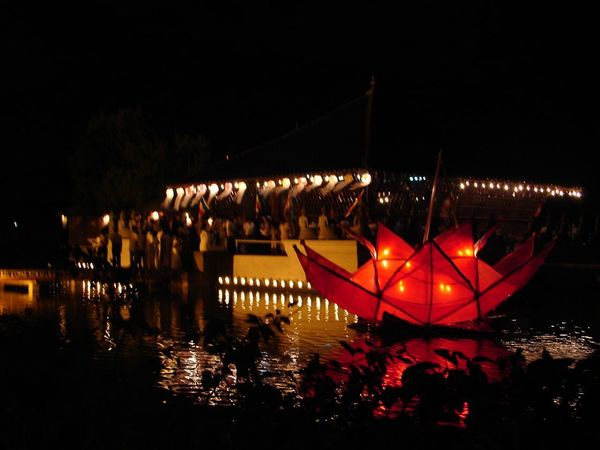 Event Illuminated Lantern Night Nightlife Red Reflection Riverbank Togetherness Vesak Vesak Day Water