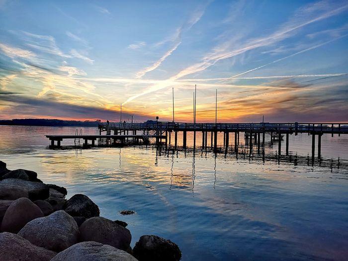 Water Sea Beach Sunset Summer Blue Reflection Silhouette Sky Horizon Over Water