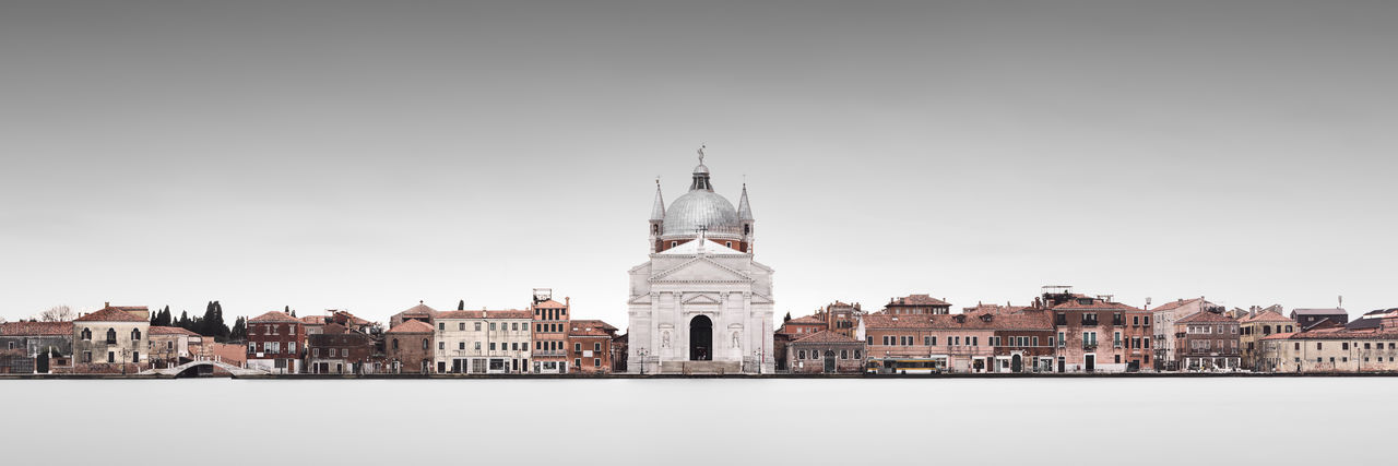 view of Giudecca against clear sky Architecture Floating City Giudecca Giudecca Canal Grand Canal Italia Architecture Building Exterior City Cityscape Day Fine Art History Italy Long Exposure Muted Colors No People Outdoors Philipp Dase Sky Travel Destination Venice