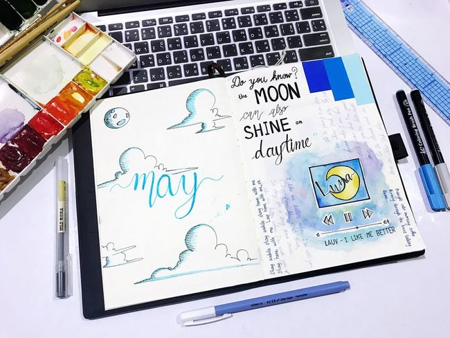 """My own drawing in """"moon"""" theme. For more drawings, go follow my IG: Business Finance And Industry No People Indoors  Wireless Technology Close-up Day Drawing Watercolor Moon Luna Blue Quotes Quote Scrapbooking Diary Bulletjournal May Writing Calligraphy Minkietraveldiary"""