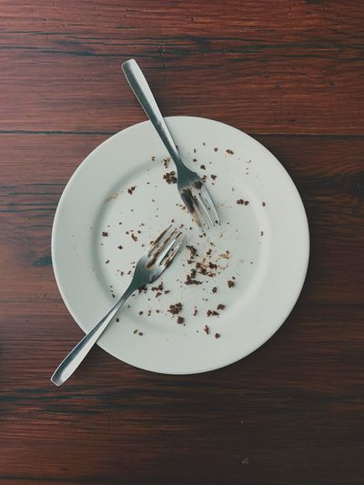 Missing chocolate cake... Leftovers Table Fork High Angle View Plate Food And Drink No People Empty Plate Indoors  Eaten Visual Feast Food Stories