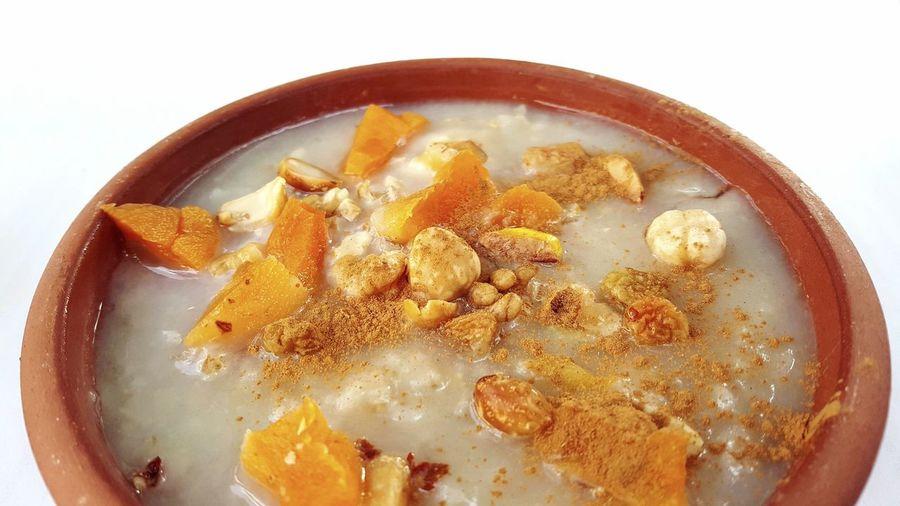 ashure Wheat Sweet Ashure Ashura Sweet Food Noah`s Puding Nuts Porridge Porridge White Background Close-up Served Dessert Oatmeal