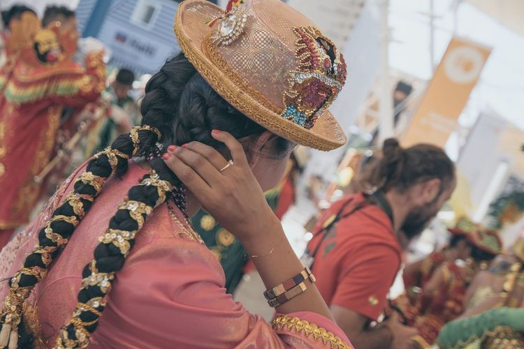 Close-Up Of Woman Wearing Hat During Carnival