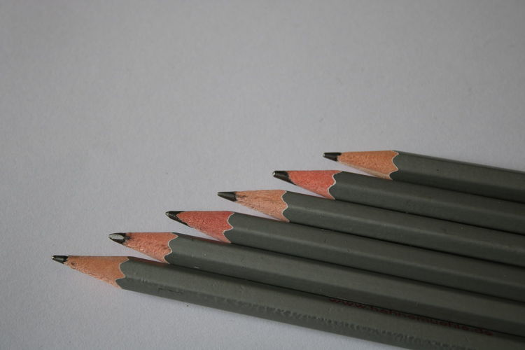 In A Row Close-up Day No People Paper Pencil Pencil Shavings Still Life Studio Shot White Background Wood - Material