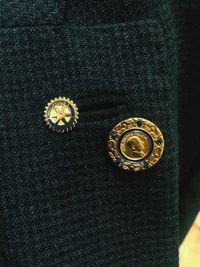 Jacket Pins Rotary International PHF Paul Harris Rotary Club Close-up No People Antique Gold Colored Indoors  Day