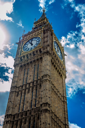Architecture Big Ben Blue Sky Building Exterior Built Structure Chime Clock Face Clock Face Exploding, Clock Tower Clouds And Sky England Famous Place History Landmark Leaning Tower London Low Angle View Perspective Sun Rays Tower The Architect - 2016 EyeEm Awards London Lifestyle