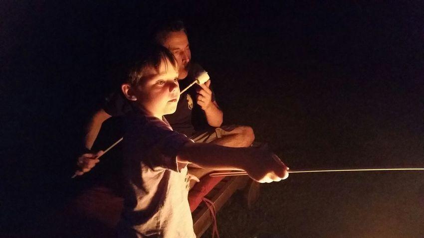 campfire. smores. friends. summer night.