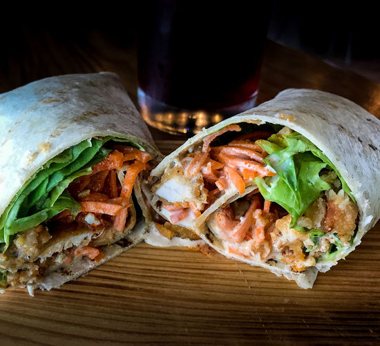 Chicken Wrap Carrots Close-up Food Food And Drink Freshness Indoors  Indulgence Lettuce Meal Meat Mexican Food No People Ready-to-eat Sandwich Sauce Stuffed Tortilla - Flatbread Wrap Sandwich Wrapped