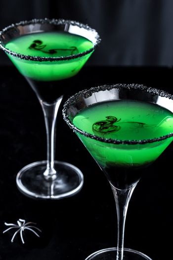 Halloween inspired apple martinis Food And Drink Drink Refreshment Martini Green Beverage Adult Halloween Cocktail Nightcap Libation Sophisticated Classy Alcohol