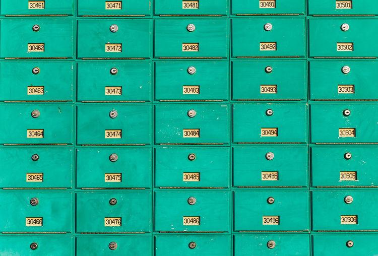 Full frame shot of blue mailbox