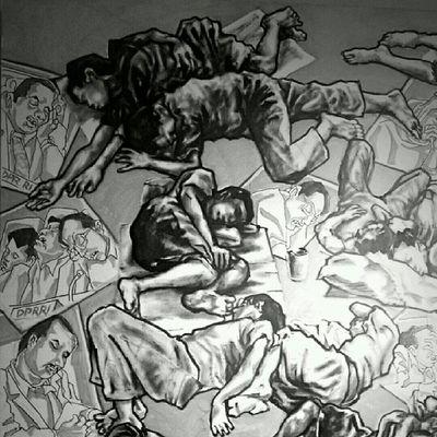 Anggota DPR tidur di Senayan dibayar. Gembel tidur di emparan dapat bonus pentungan. (Lukisan Bung Yayak) Jakarta Sesuatu Bw