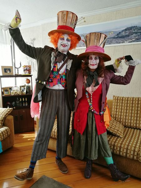 Fun Stage Make-up Hatter Costume Halloween Couple Costume Wonderland Handmade