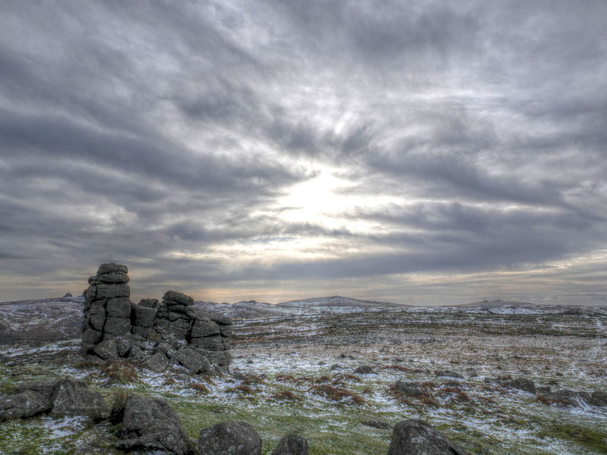 Hound Tor in the snow Cloud Dartmoor HDR Hound Tor Landscape Snow