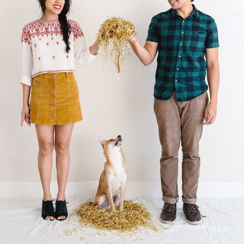 Low section of man and woman throwing decoration on dog whiles standing against white background