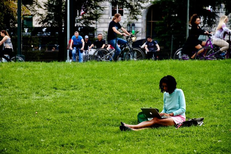 Adult Apple Central Park, New York Chess Competition Day Full Length Grass Green Color Horizontal Large Group Of People Leisure Activity Outdoors People Real People Sitting Studying Young Adult
