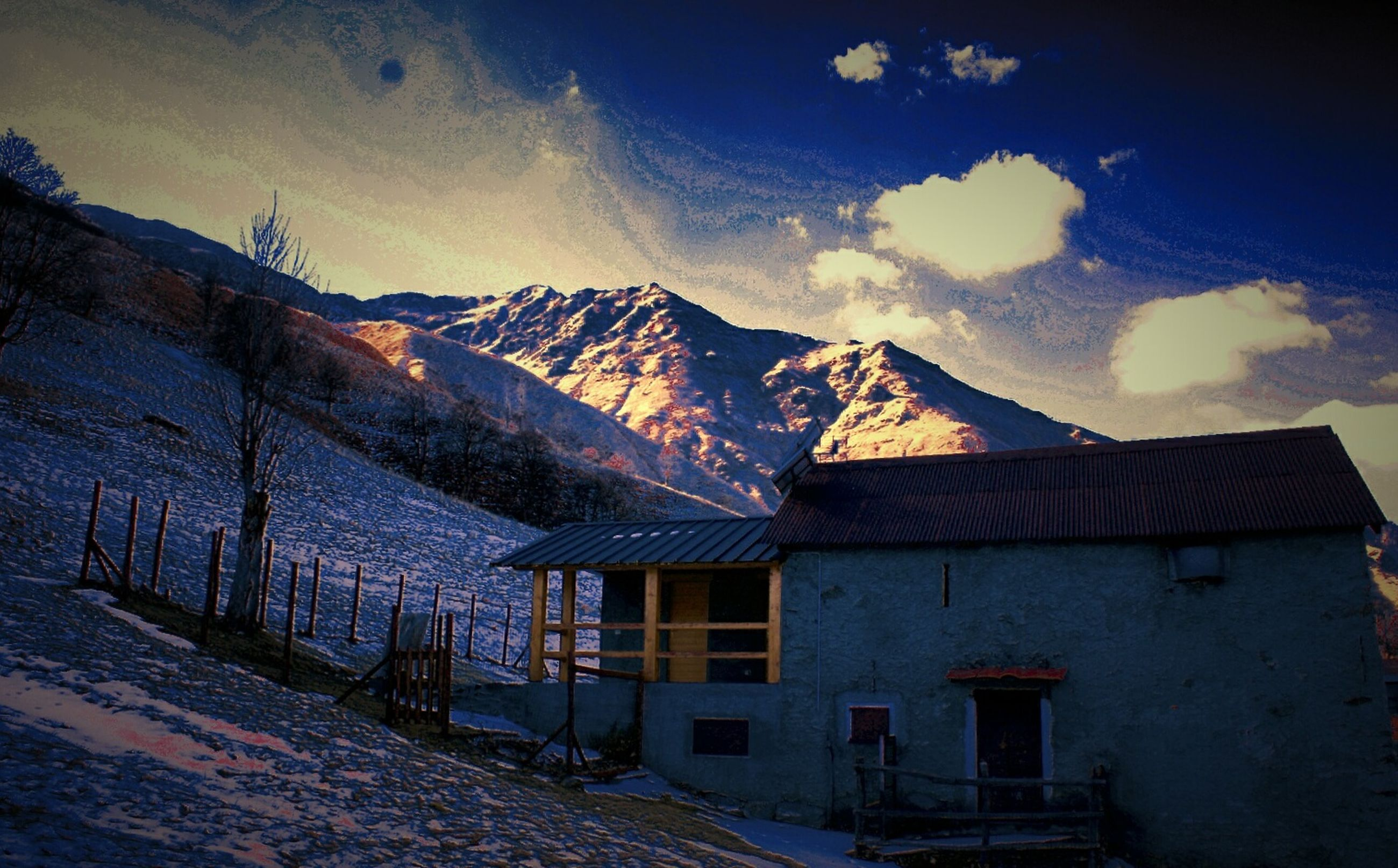 built structure, architecture, building exterior, sky, no people, cold temperature, mountain, outdoors, day
