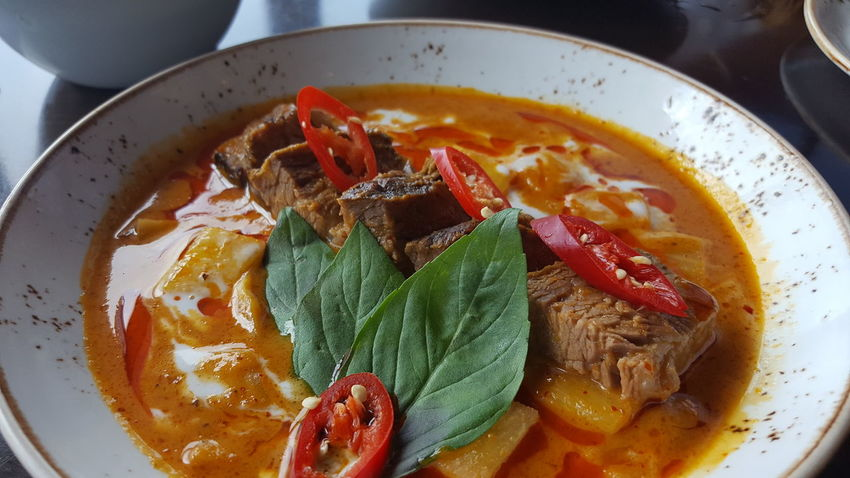 Food Food And Drink Directly Above No People Healthy Eating Indoors  Ready-to-eat Freshness Plate Close-up Cooked Day Beef Curry Thaifood Spicy Thai Food