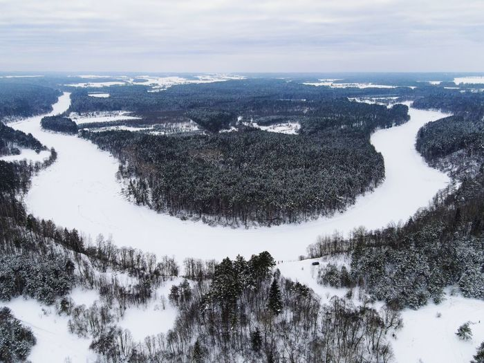 Aerial view of snow covered land and trees against sky
