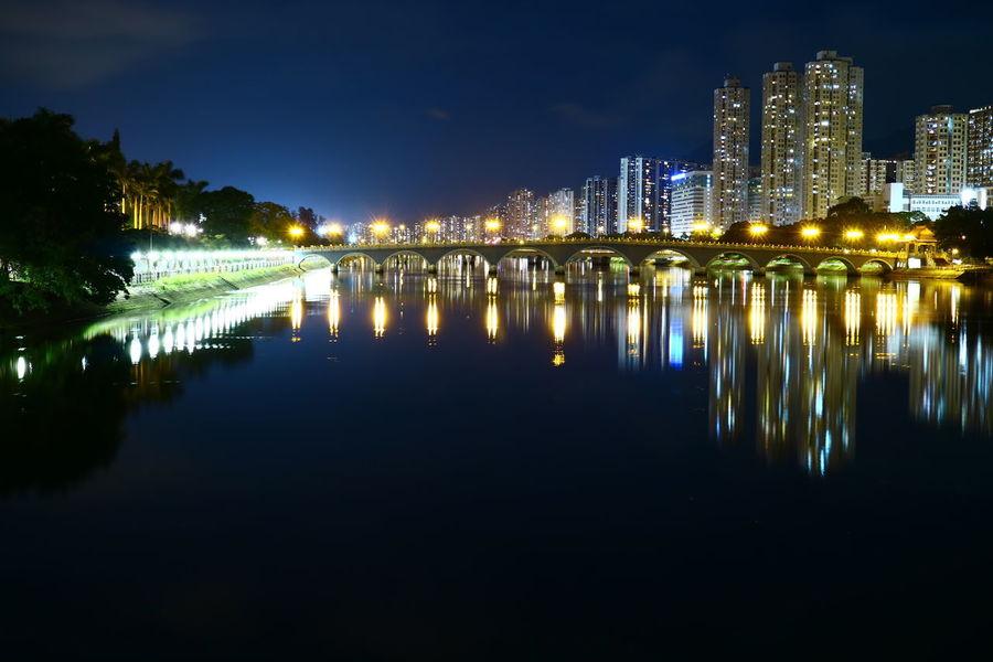 Discoverhongkong Cityscapes HongKong Night Sky Nightscape Night Lights Nightphotography Water Reflections Waterreflexion Shatin Longexposure Riverside