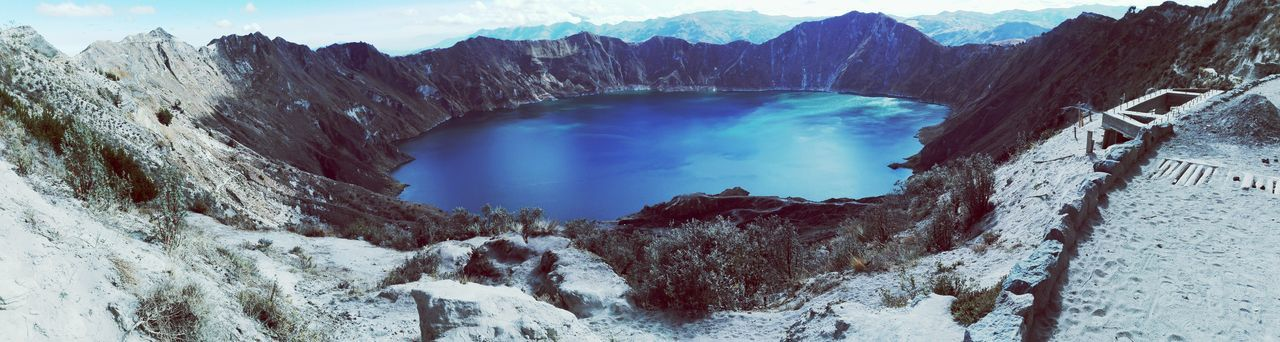 The volcano of Quilotoa is the most western volcano of the Ecuadorian Andes. It is a water filled caldera/crater fromed 800 years ago when the volcano erupted. Mountain_collection Volcano Crater Volcano Craterlake Caldera Quilotoa Laguna Quilotoa