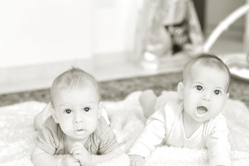 Childhood friendships in the making Child Love Infant Babygirl Happy Children Only Baby ❤ Baby Boy Blackandwhite Blue Eyes EyeEm Selects Child Twin Childhood Friendship Portrait Looking At Camera Baby Close-up Babyhood Baby Clothing 0-11 Months Newborn Babies Only Baby Girls Baby Boys