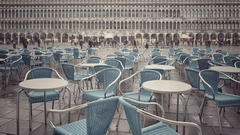 Empty chairs after the rain | Empty Chairs Piazza San Marco Venezia After The Rain Sunday Afternoon Gray Day Turquoise Showcase: January Getting Inspired The Architect - 2016 EyeEm Awards The Street Photographer - 2016 EyeEm Awards It's Cold Outside EyeEm Italy |