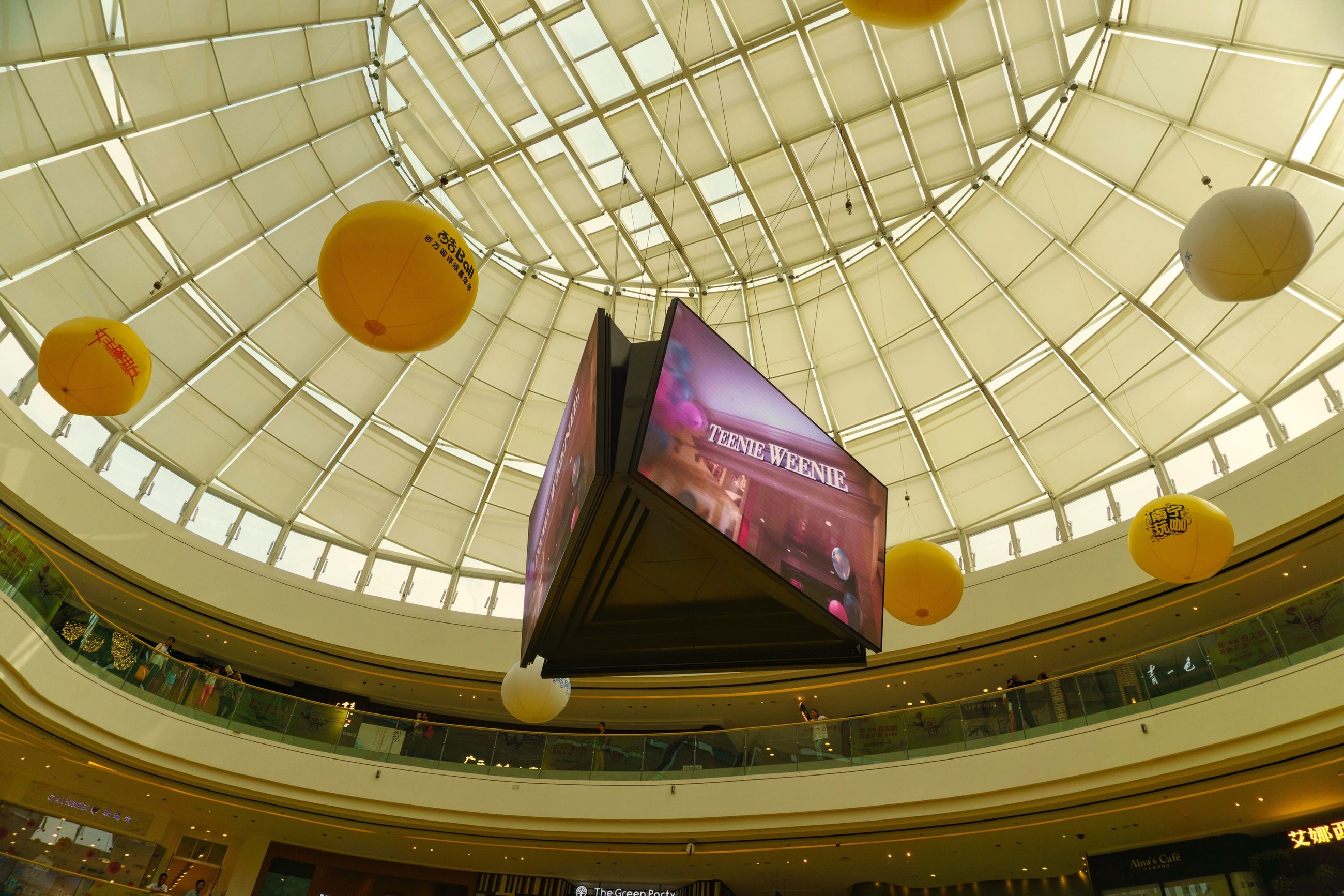 indoors, multi colored, ceiling, high angle view, hanging, low angle view, yellow, pattern, art, decoration, creativity, art and craft, design, variation, no people, architecture, built structure, still life, day, arts culture and entertainment